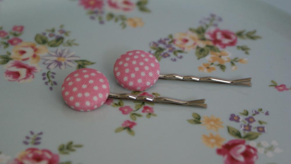 Pink Polka dot button hair pins