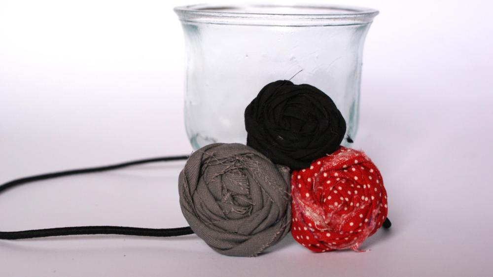 Red polka dot rosette headband
