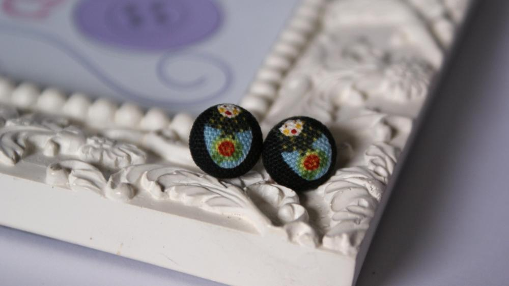 Babushka Button Earrings 
