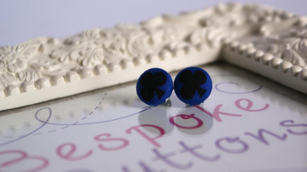 Club suit fabric covered button earring
