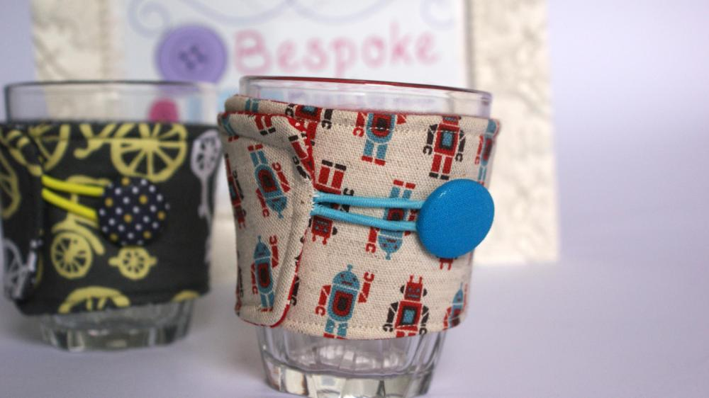 Robot fabric coffee cozy
