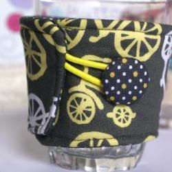 Bicycle fabric coffee cozy